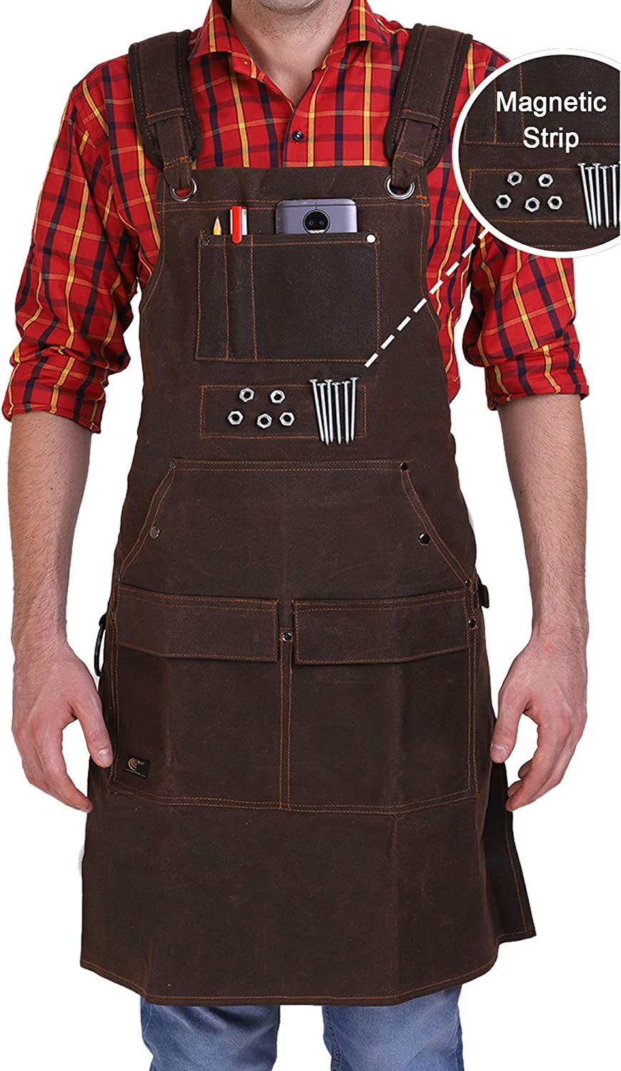 Leather Waxed Canvas Work Aprons for Men & Women with Pocket ...
