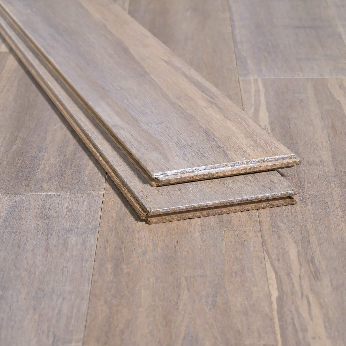 Ambient Bamboo - Bamboo Flooring Sample, Color: Tahoe Handscraped, Solid Strand Tongue and Groove