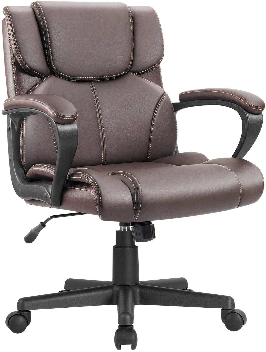 Furmax Mid Back Executive Office Chair Swivel Computer Task Chair with Armrests,Ergonomic Leather-Padded Desk Chair with Lumbar Support (Brown)
