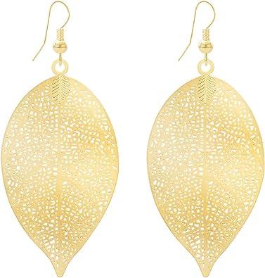 Golden Filigree Leaves Drop Gold Plated Dangle Earrings