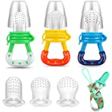 PandaEar Baby Fresh Fruit Food Feeder Nibbler Pacifier (3 Pack) |Training Massaging Toy Teether| Food Grade Soft Safe…