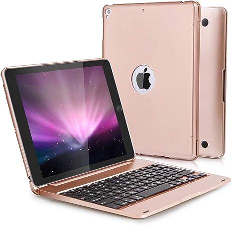 N//K Funda con Teclado para iPad para iPad de 9,7 Pulgadas 2018 Funda para iPad 2017 para iPad Pro 9.7 con Teclado inal/ámbrico Desmontable Rosa Dorado 5.a generaci/ón 6.a generaci/ón