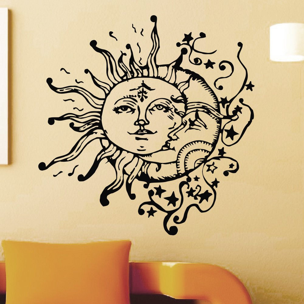 Vinyl Wall Sticker Decals Sun Crescent Ethnic Dual Symbol Moon Decal ...