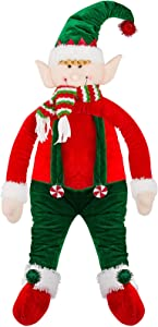 Christmas Tree Topper Elf Hugger- Hugging Xmas Elf Tree Topper with Cotton Filled Arm and Body for Christmas Tree Decoration, Winter Wonderland Party Supplies, Shopping Mall Decoration Supplies