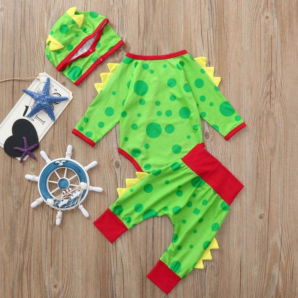 0-24 Months Christmas Party Newborn Baby Boys Girls Romper Set Cotton Dinosaur Dot Jumpsuit Pants Hat Outfits (Green, 0-6 Months) by Aritone (Image #2)