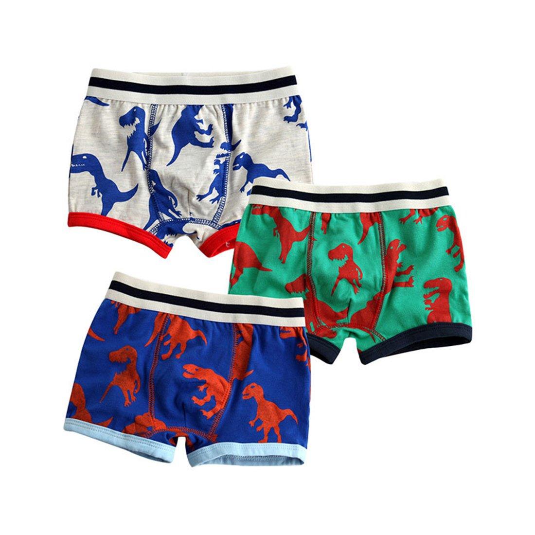 GWELL Jungen Baumwolle Unterhosen 3er Pack Boxershorts Set Cartoon Ganzjahr Dinosaurier Flugzeug Zug
