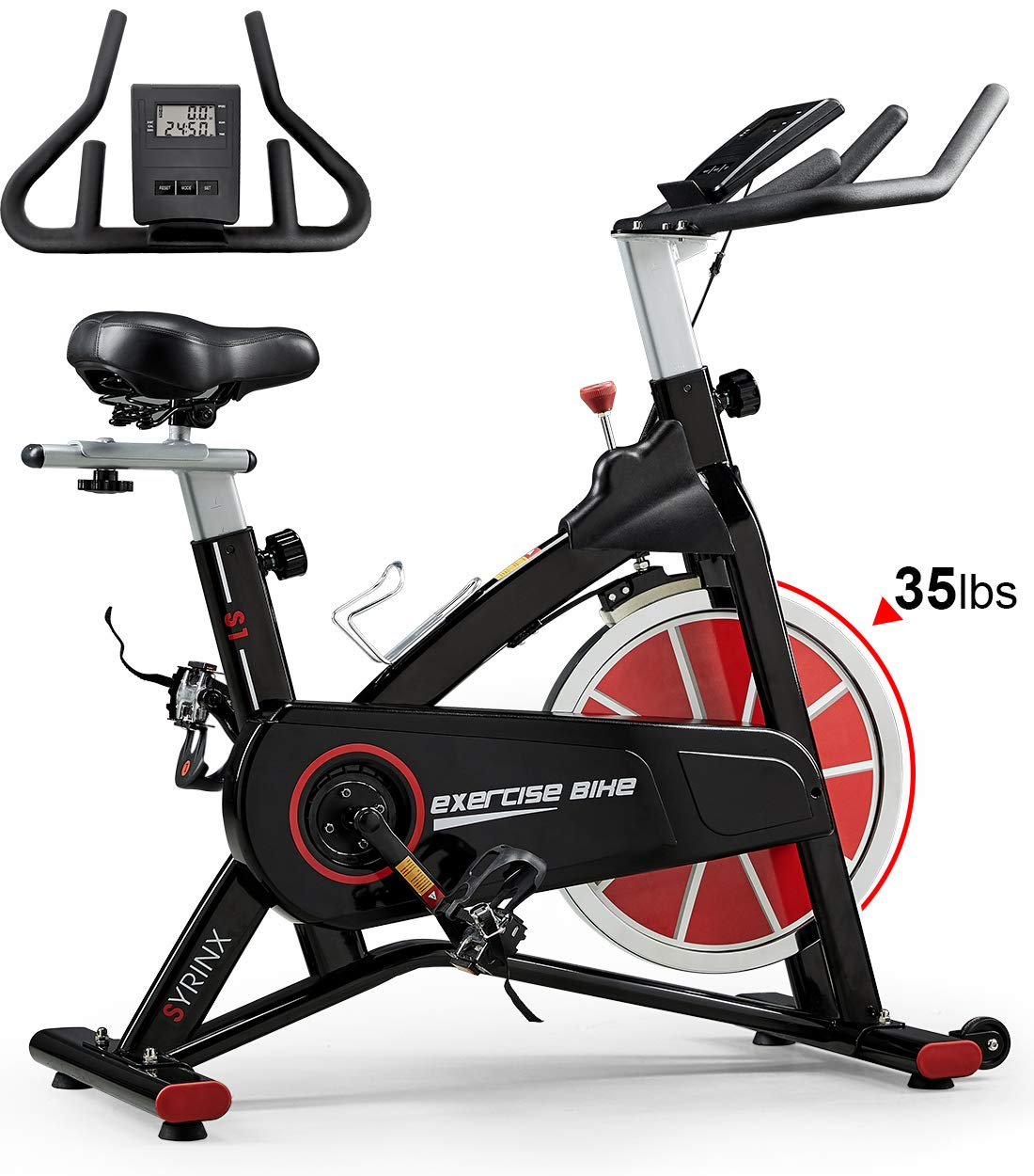 SYRINX Indoor Cycling Bike-Belt Drive Indoor Exercise Bike,Stationary Cycle Bike for Home Cardio Gym Workout Black