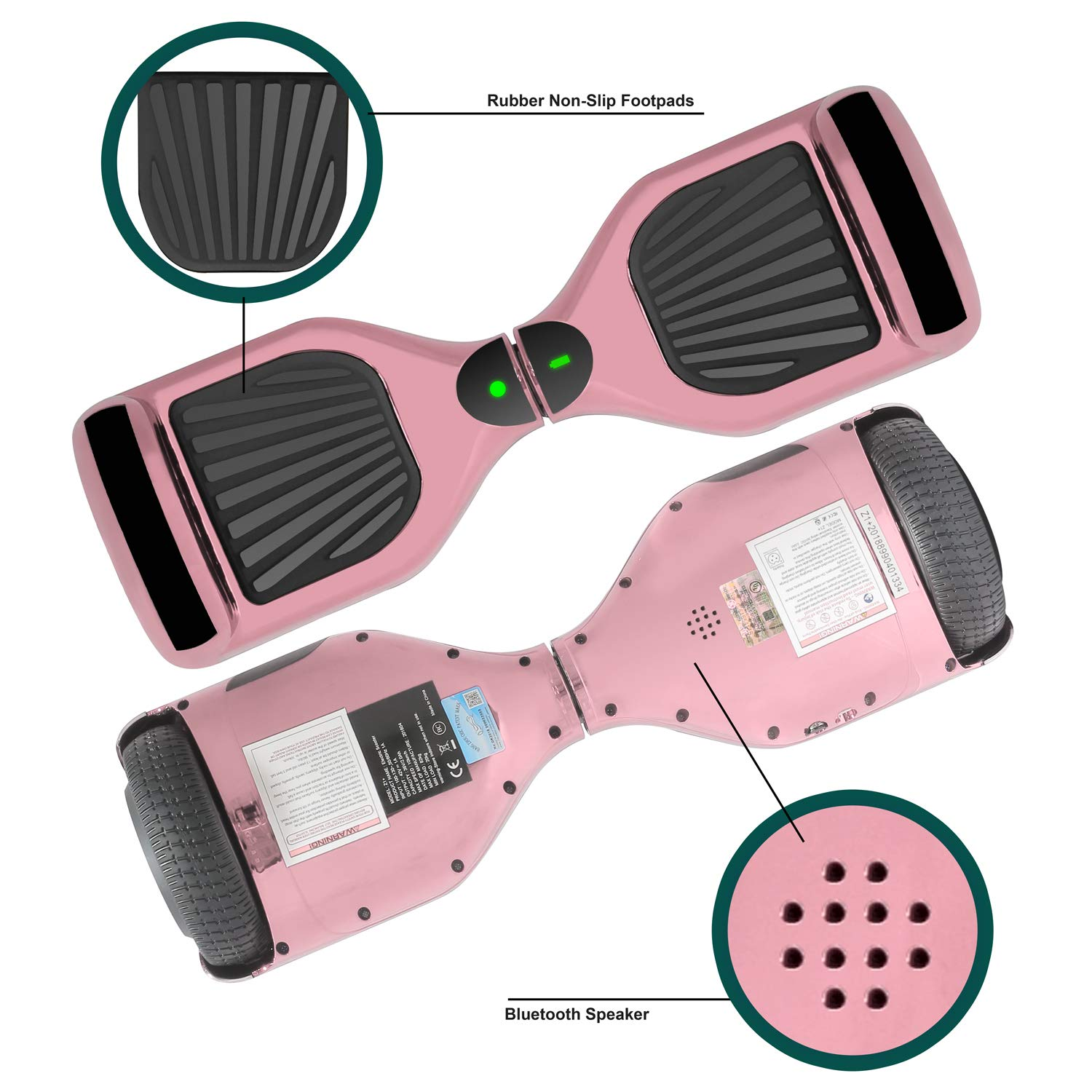 NHT 6.5'' Hoverboard Electric Self Balancing Scooter Sidelights - UL2272 Certified Black, Blue, Pink, Red, White or Chrome Style (Chrome Rose Gold) by NHT (Image #3)