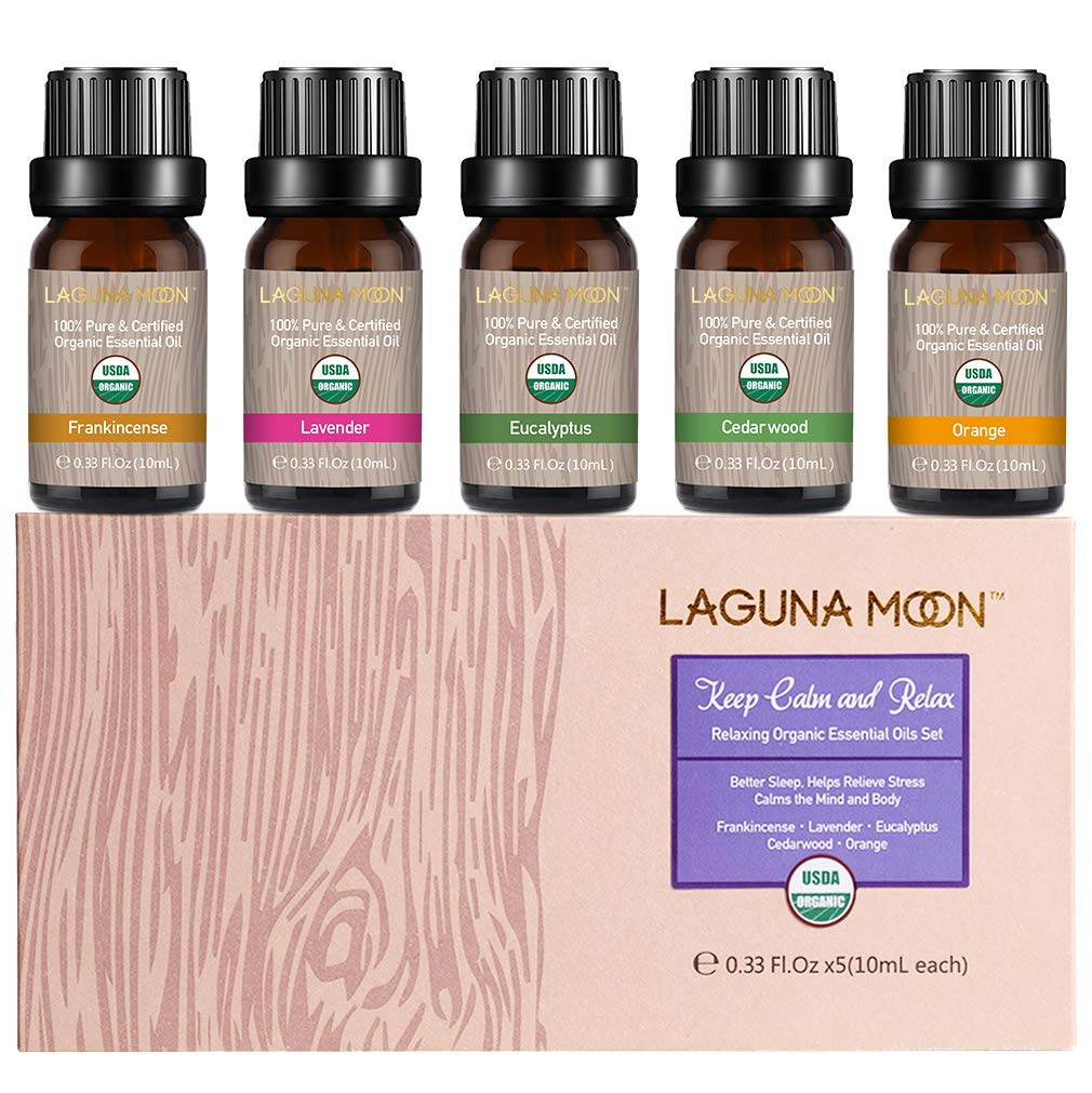 Lagunamoon Essential Oils Set, Top 5 Essential Oil Lavender Eucalyptus Cedarwood Orange Frankincense for Diffuser, Humidifier, Massage, Aromatherapy, Skin & Hair Care