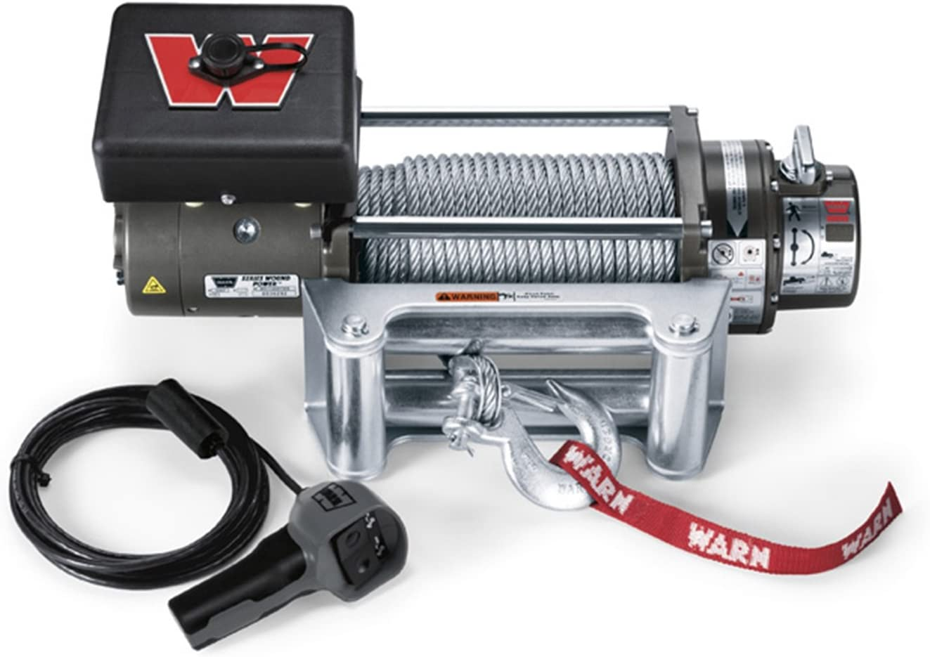 "WARN 26502 M8000 Series Electric 12V Winch with Steel Cable Wire Rope: 5/16"" Diameter x 100' Length, 4 Ton (8,000 lb) Lifting/Pulling Capacity"