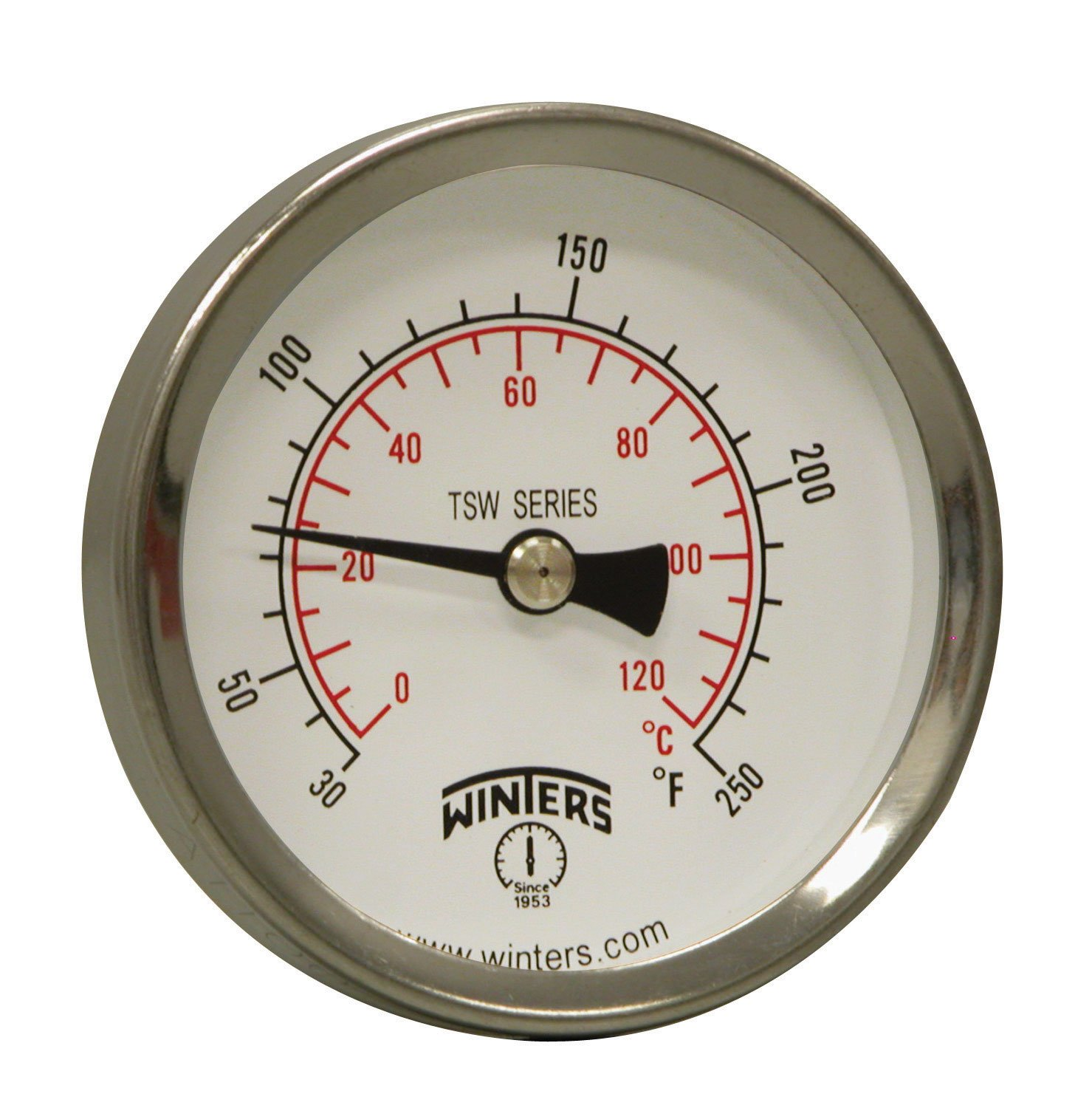 "Winters TSW Series Aluminum Dual Scale Hot Water Thermometer, Dial Type, 2-1/2"" Dial, 1/2"" NPT Center Back Mount, 30-250 F/C Range"