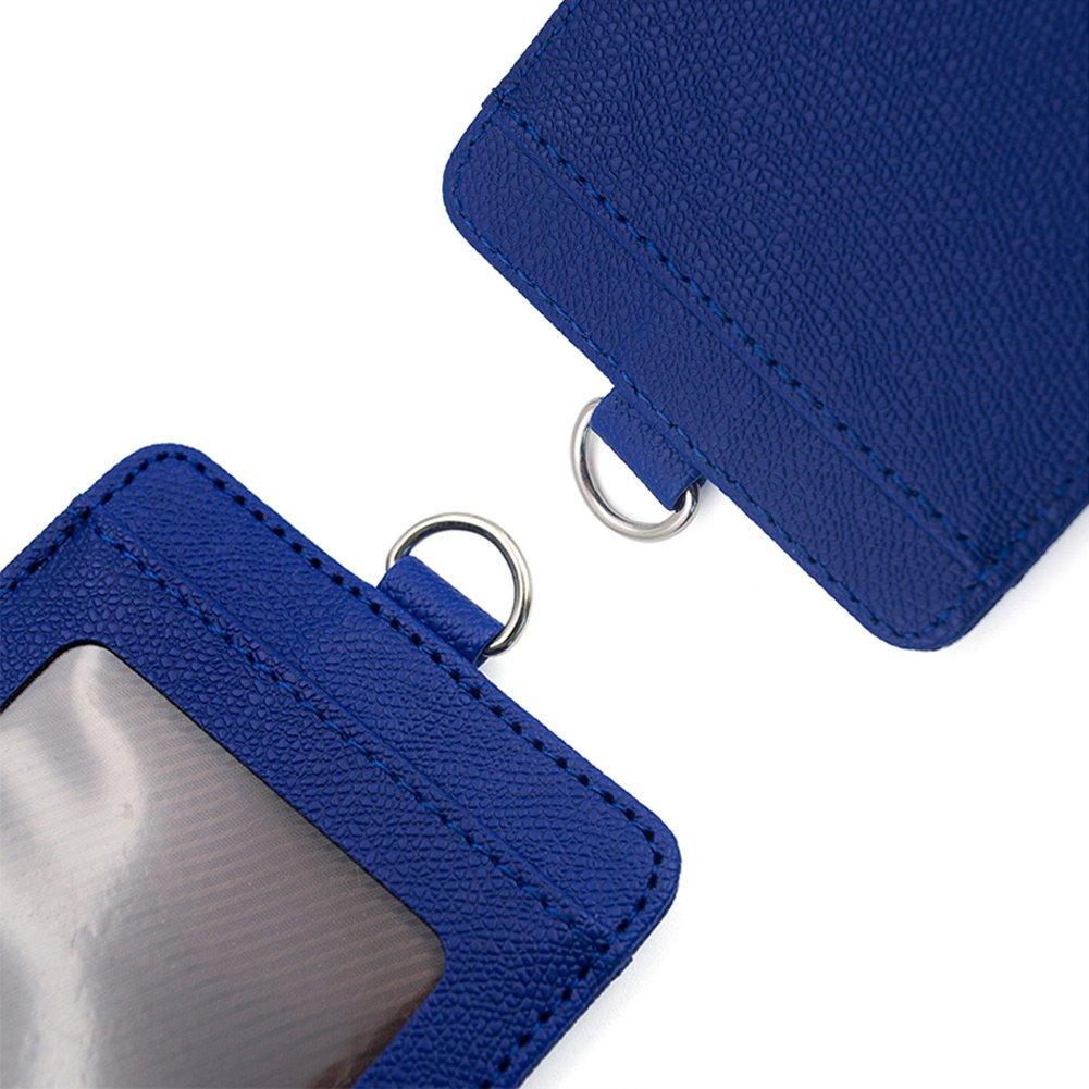 Gogo porta badge orizzontale//verticale a lati in pelle copertura della carta di credito con 2/carte 8 Packs horizontal blue