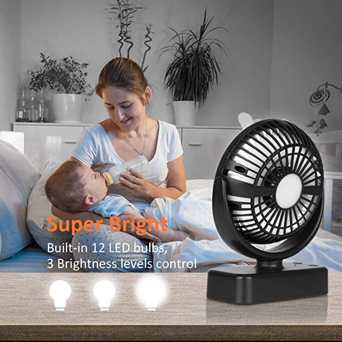 Rechargeable Battery Operated Fan with Led Light /& Hanging Hook for Hurricane Emergency Outages 5000mAh Camping Fan with 3 Speeds and Brightness Wooce Tent Fan