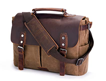c03518d799f Mens Messenger Bag,Handmade Cross Body Bag Leather Laptop Briefcase Waxed  Canvas Shoulder Bag with