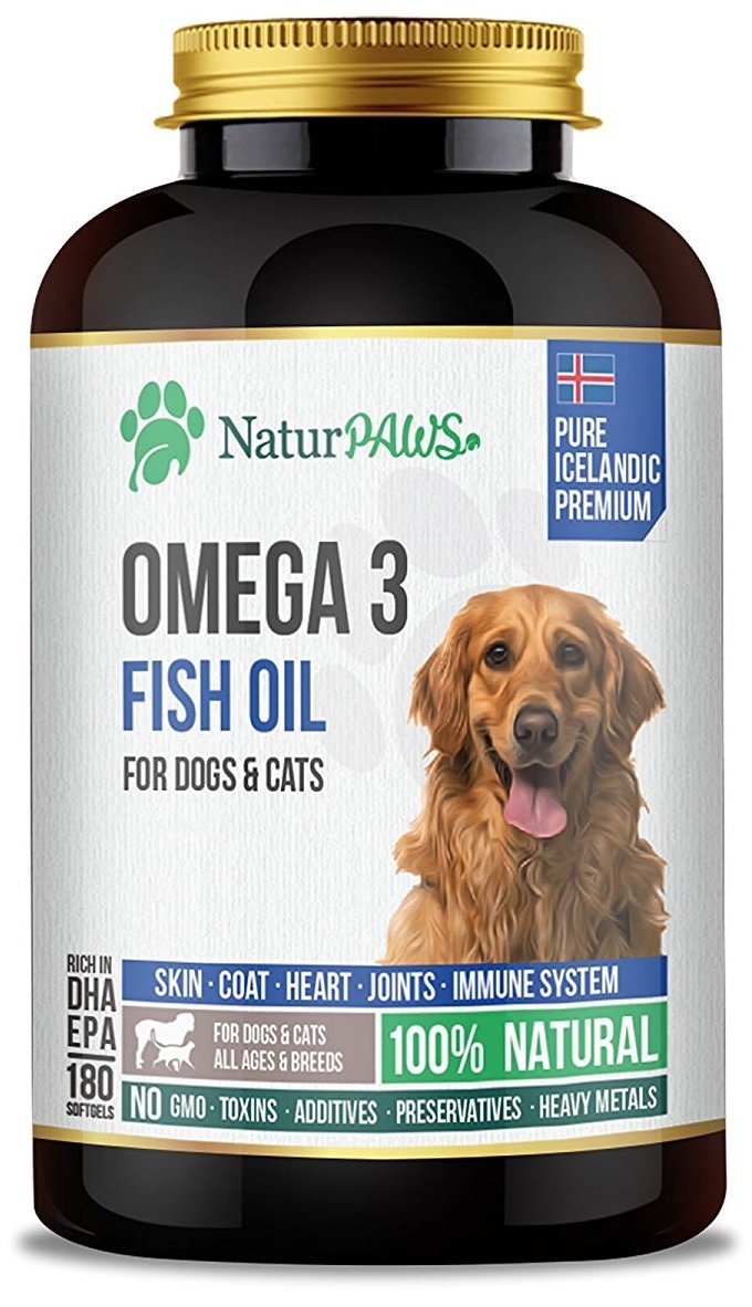 NaturPAWS Omega 3 Fish Oil 180 Softgels 1000mg for Dogs, Cats & Pets | Pure, Clear, Safe, Rich in EPA & DHA Dietary Supplement | Support Heart Health & Immunity, Ease Joint Pains, Promotes Shiny Coat by NaturPAWS