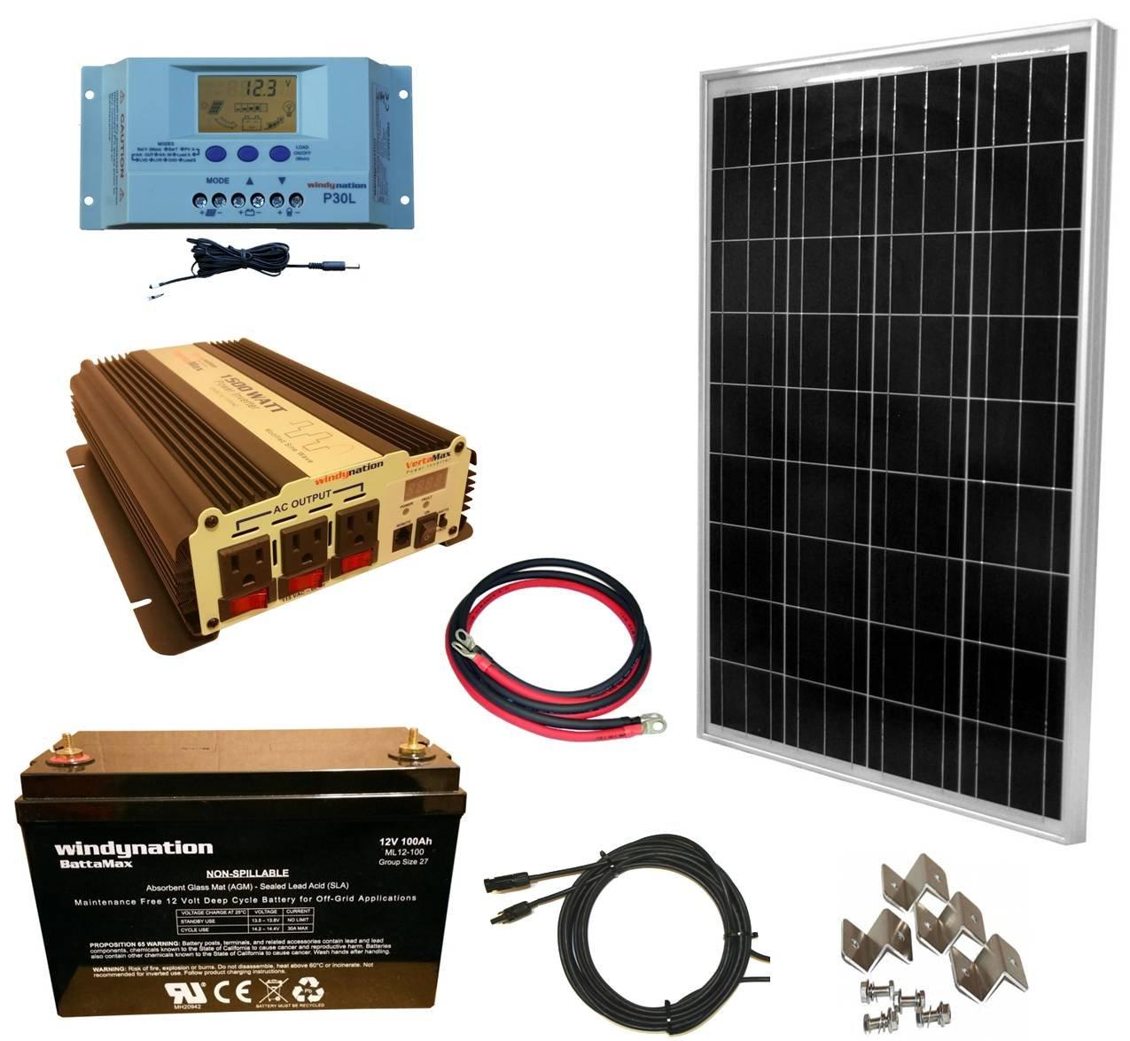 WindyNation 100 Watt Solar Panel Kit + 1500W VertaMax Power Inverter + 100ah AGM Deep Cycle Battery for RV, Boat, Off-Grid 12 Volt