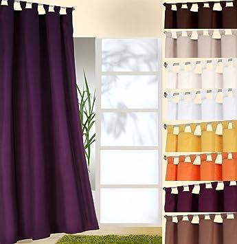 heimtexland ® Dekoschal mit Schlaufen und Kräuselband uni in lila ...