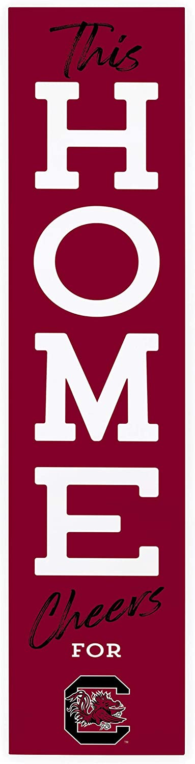 P. Graham Dunn This Home Cheers for University of South Carolina NCAA 47 x 10.5 Birch Wood Vertical Porch Leaner Sign