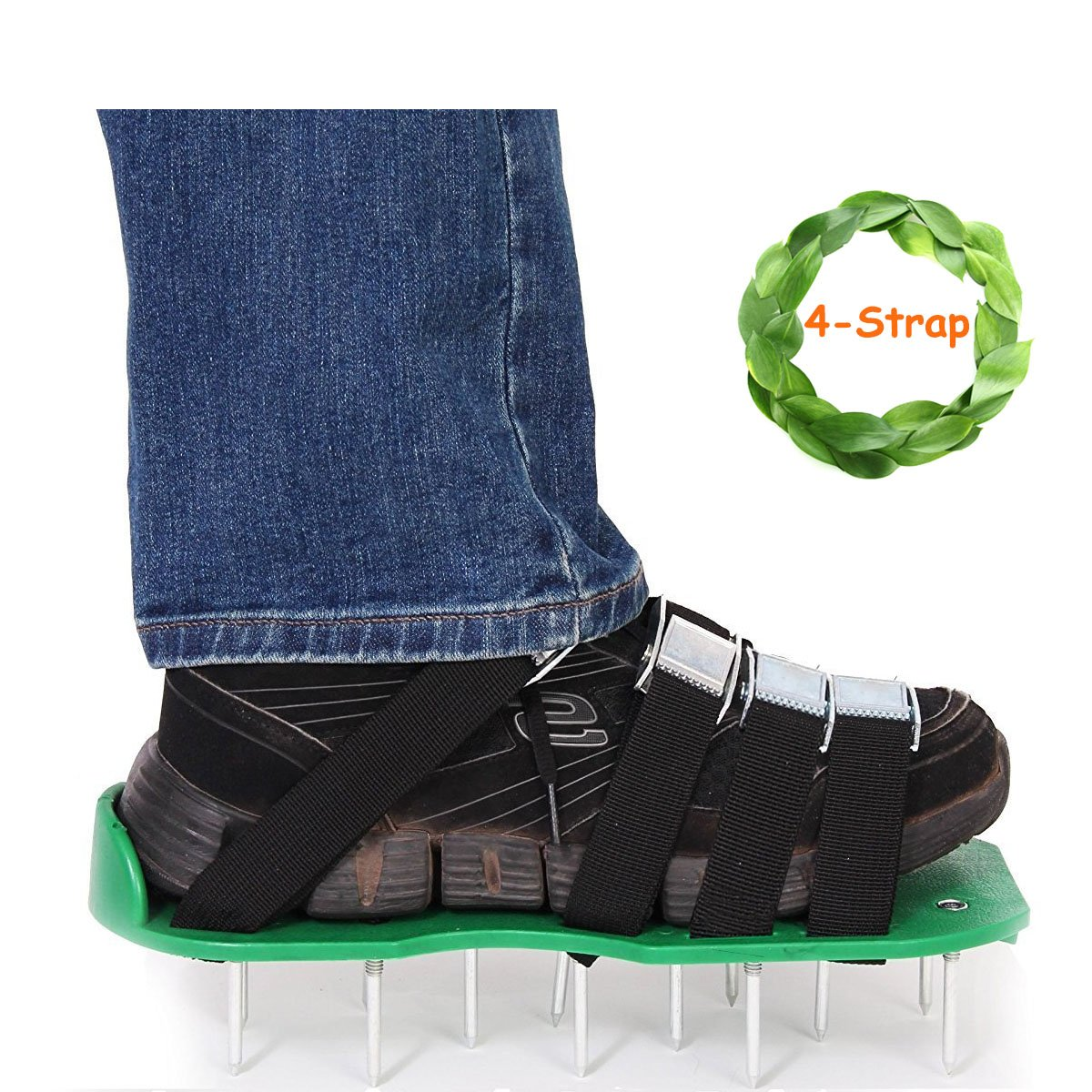 Kyerivs Lawn Aerator Spike Shoes Updated 4 Straps with Heavy Duty Buckles Lawn Aerator Sandals by, Universal Size with Bonus Wrench