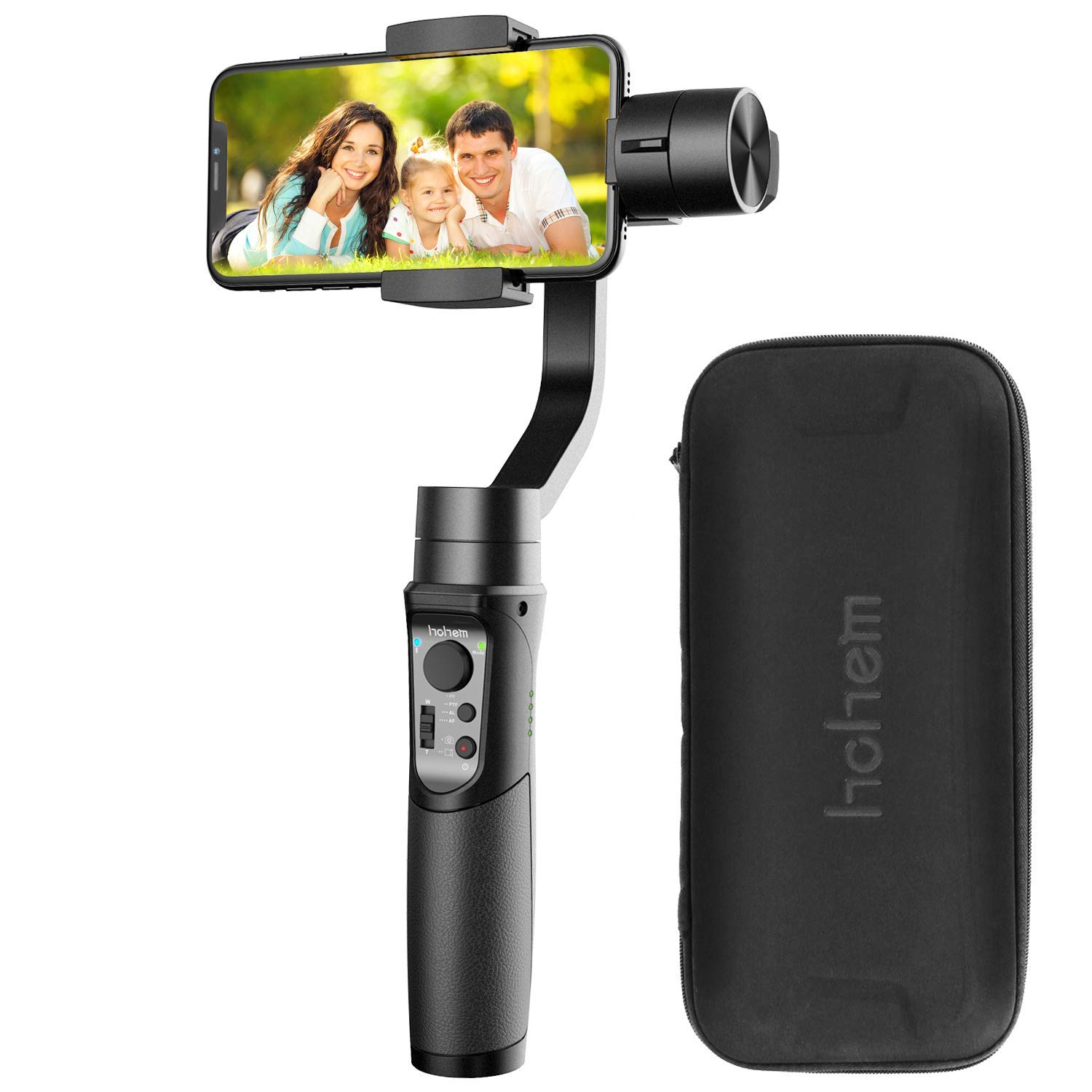 Hohem Smartphone Gimbal 3-Axis Stabilizer Handheld Gimble Time Lapse Expert Stabilizer w/Focus Pull & Zoom Face Tracking 12h Runtime,Max Playload 210g (iSteady Mobile)