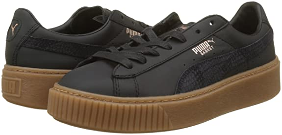 Amazon.com | PUMA Women's Basket Platform Euphoria Gum Trainers ...