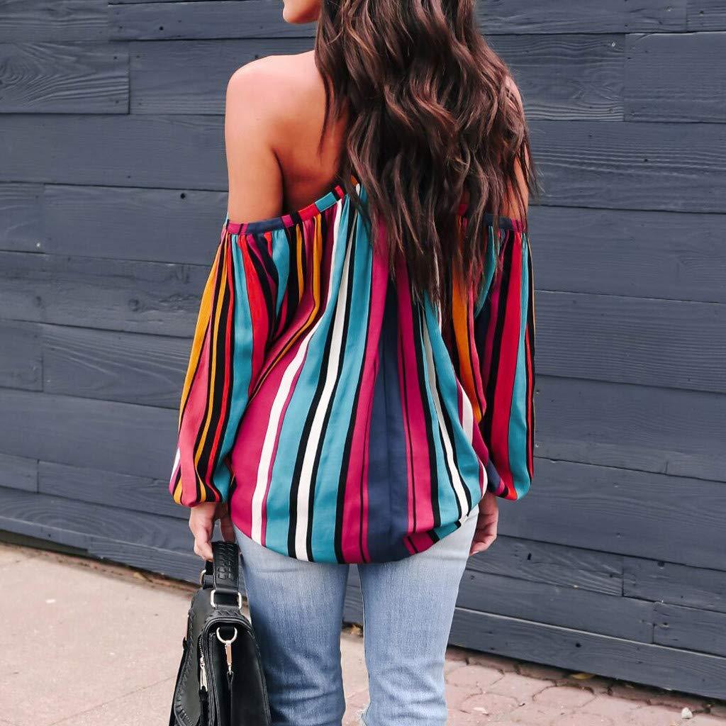 FEDULK Womens Slash Neck T-Shirt Cold Shoulder Rainbow Stripes Print Long Sleeves Elegant Blouse Tops