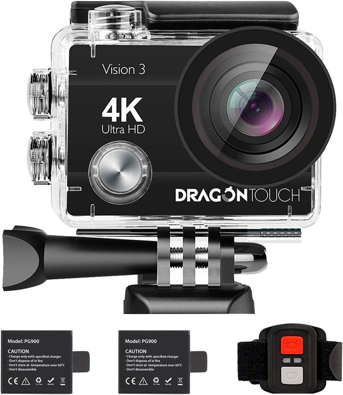 Dragon Touch 4K Action Camera 16MP Vision 3 Underwater Waterproof Camera PC Webcam 170° Wide Angle WiFi Sports Cam with Remote 2 Batteries and Mounting Accessories Kit : Camera & Photo