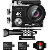 Dragon Touch 4K Action Camera 16MP Vision 3 Underwater Waterproof Camera 170° Wide Angle WiFi Sports Cam with Remote 2 Batter