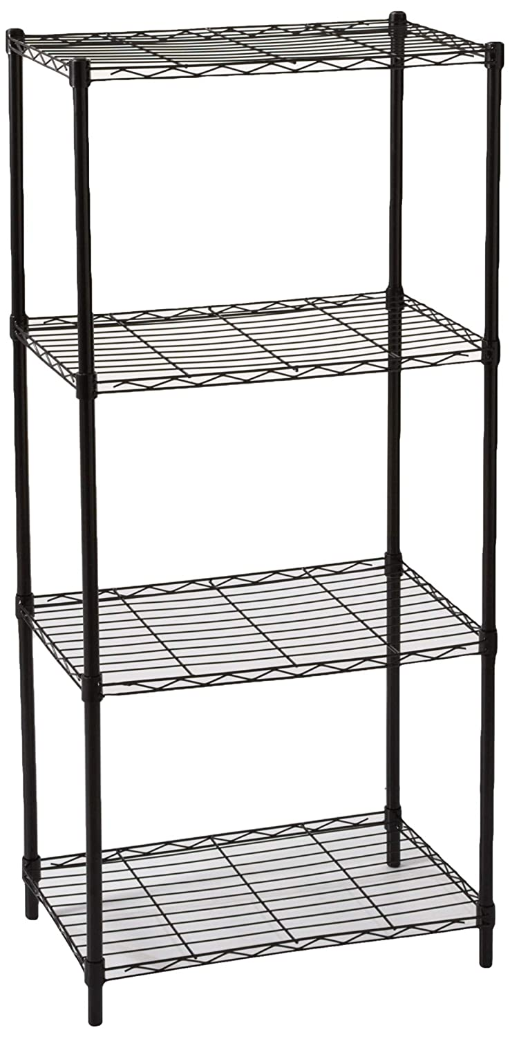 Black 4 Tier Home Basics 4-Layer Wire Shelf, Steel, 21 by 13.8 by 46.5-Inch