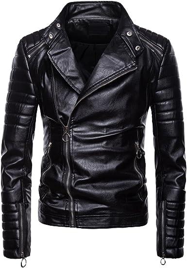Mens Fashion PU Leather Jacket Slim Biker Motorcycle Coat Casual Bomber Outwear