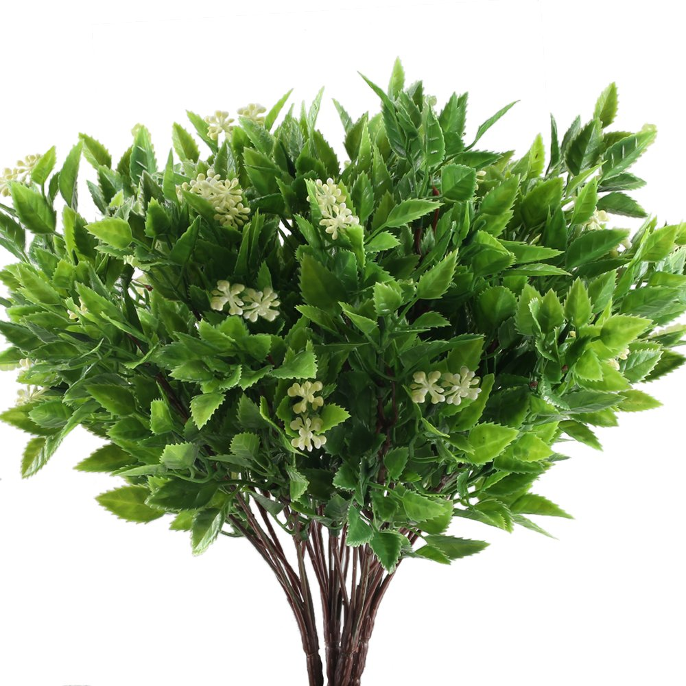 HUAESIN UV Resistant Artificial Flowers for Outdoors Plastic Fake Flowers Greenery Shrubs Bushes plants for Indoor Pot Vase Garden Decor Yellow and Green 4pcs