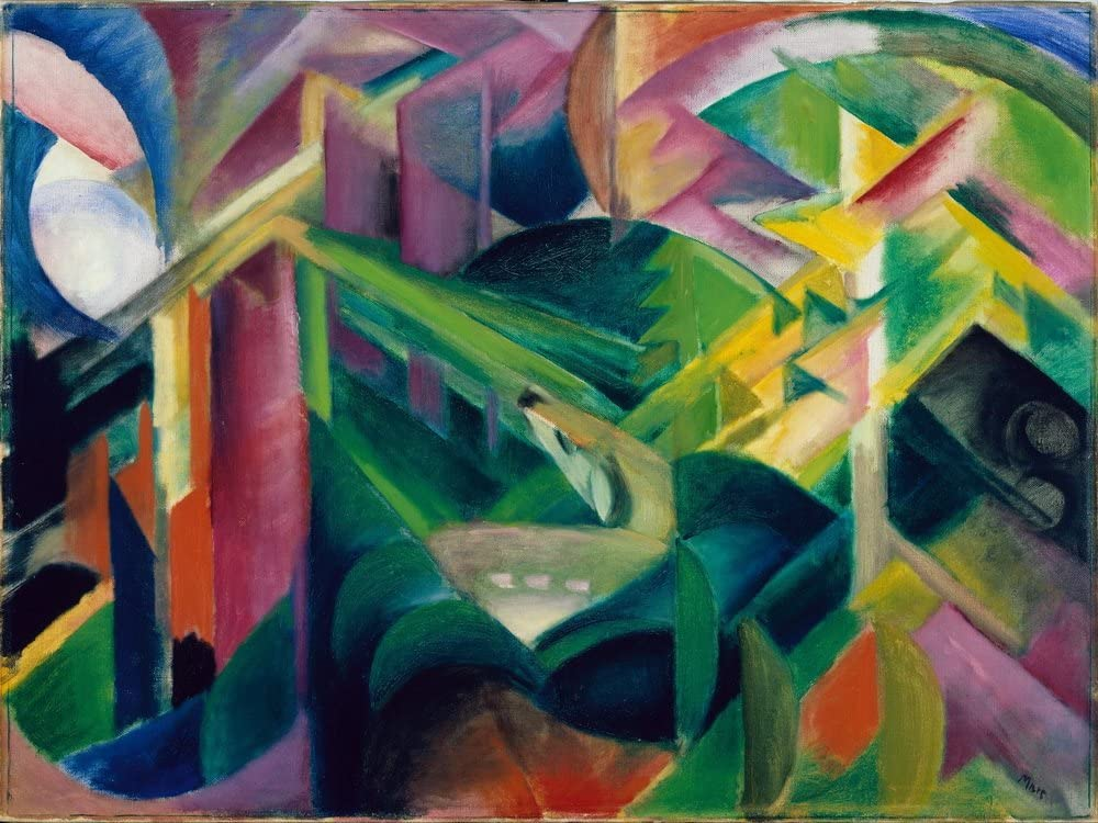 Berkin Arts Franz Marc Giclee Print On Canvas-Famous Paintings Fine Art Poster-Reproduction Wall Decor(Deer in a Monastery Garden) Large Size 39 x 29.3inches