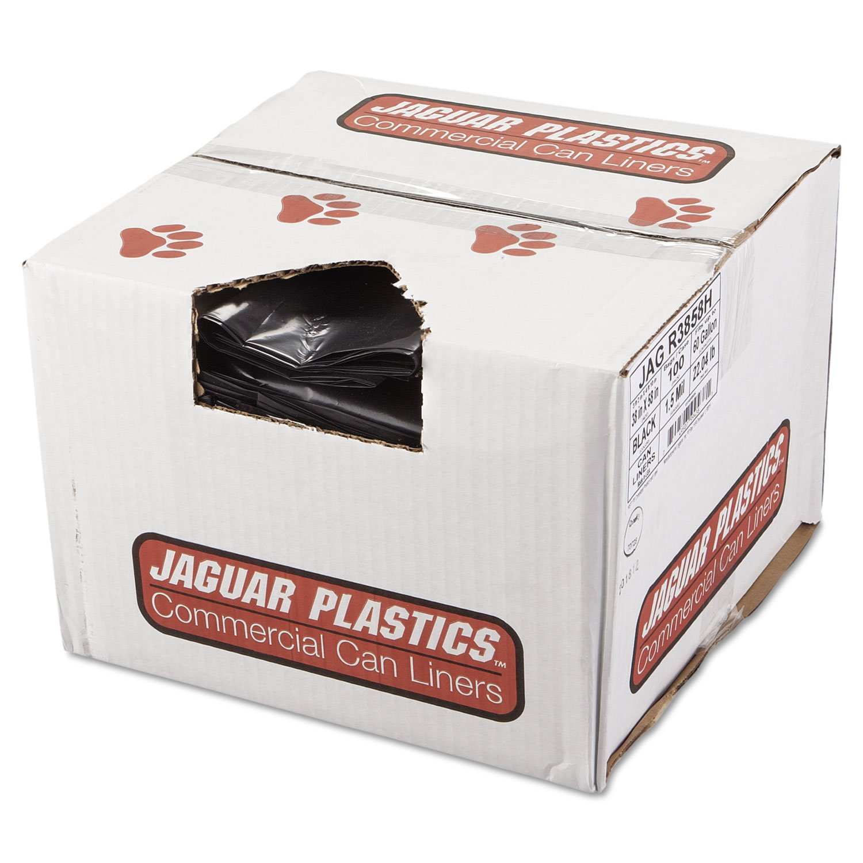 Jaguar Plastics R3858H Repro Low-Density Can Liners, 1.5 Mil, 38 x 58, Black, 10 Bags Per Roll (Case of 10 Rolls) by Jaguar Plastics