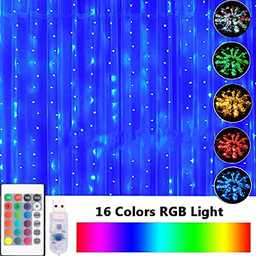 16 Color Changing Curtain Lights with Remote Timer, 300 LED 8 Modes Fits for Bedroom Wedding Party Backdrop Outdoor Indoor Decoration Rainbow Curtain Lights