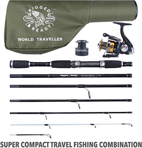 Travel Fishing Rod, Rod, Reel and Case Kit for Angling | 209cm, 6' 10