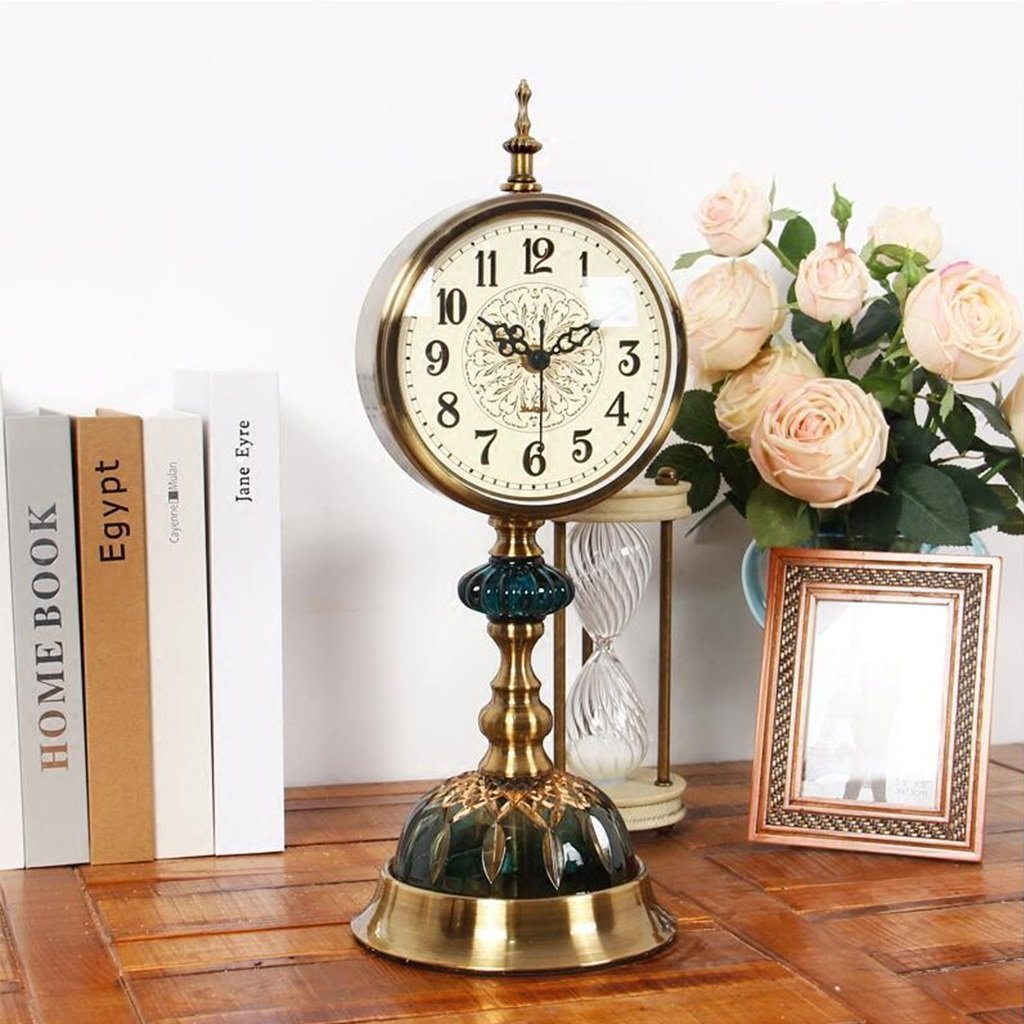 ZAZAZA Health UK Clock- Clock American Retro Ice Cracked Ceramic Table Clock Mute Creative Copper Desktop Clock Classical Sitting Bell Welcome by ZAZAZA (Image #3)