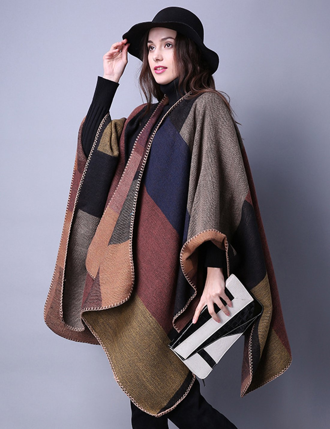 Gihuo Women's Color Block Plaid Open Front Shawl Poncho Cape Wrap Cardigan (Khaki) by Gihuo (Image #4)