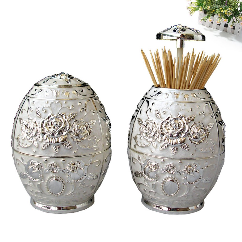 European-style pressing style toothpick automatic toothpick box fashion creative living room toothpick barrel-C by Wang's