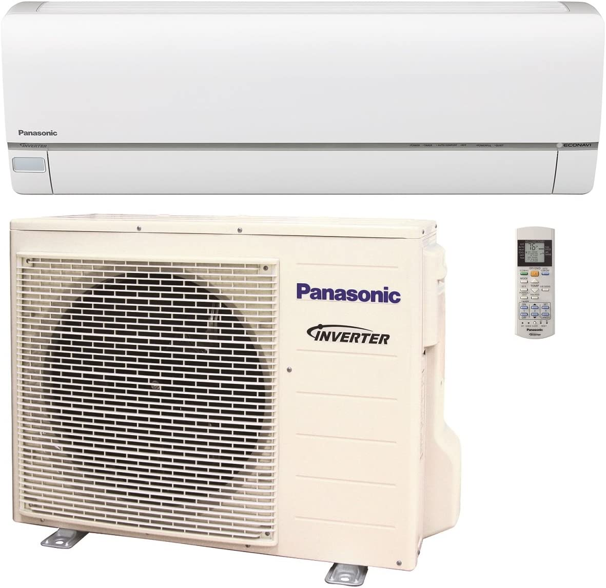 Panasonic Exterios XE 12,000 BTU Ductless Mini Split Air Conditioning and Heating System, Indoor and Outdoor Set with Wireless Remote (208/230V)