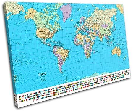 Bold bloc design school world atlas maps flags 135x90cm canvas bold bloc design school world atlas maps flags 135x90cm canvas art print box framed gumiabroncs Gallery