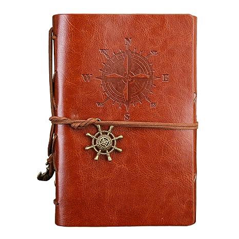 YONKINY Cuaderno de Cuero de Notas Libreta de Viaje Vintage ...