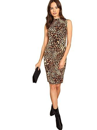 73bd21dd292f MAKEMECHIC Women's Sleeveless Mock Neck Leopard Bodycon Midi Dress at  Amazon Women's Clothing store: