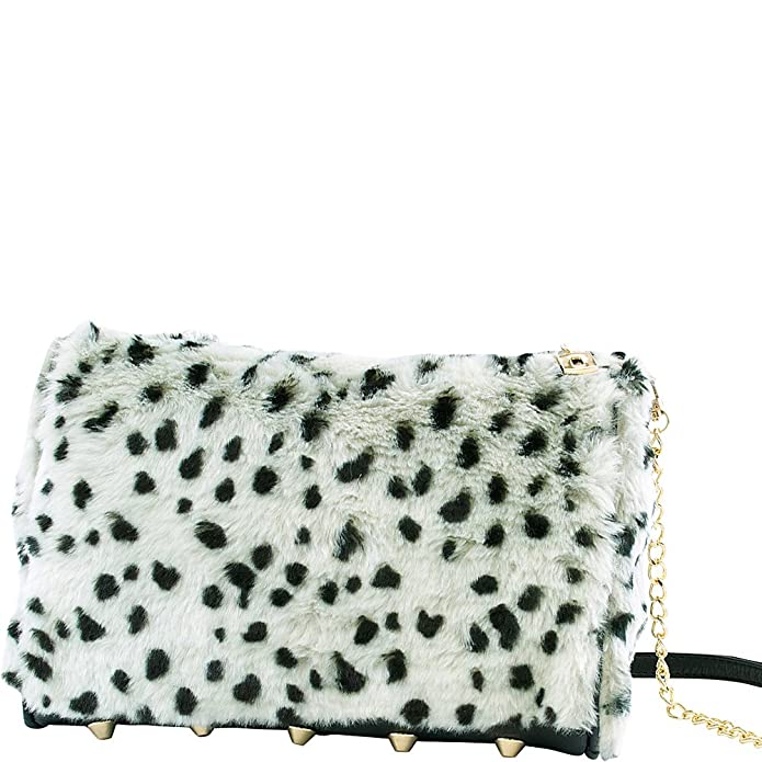 7fbf31e70a Adrienne Landau Snow Leopard Shoulder Bag (White)  Handbags  Amazon.com