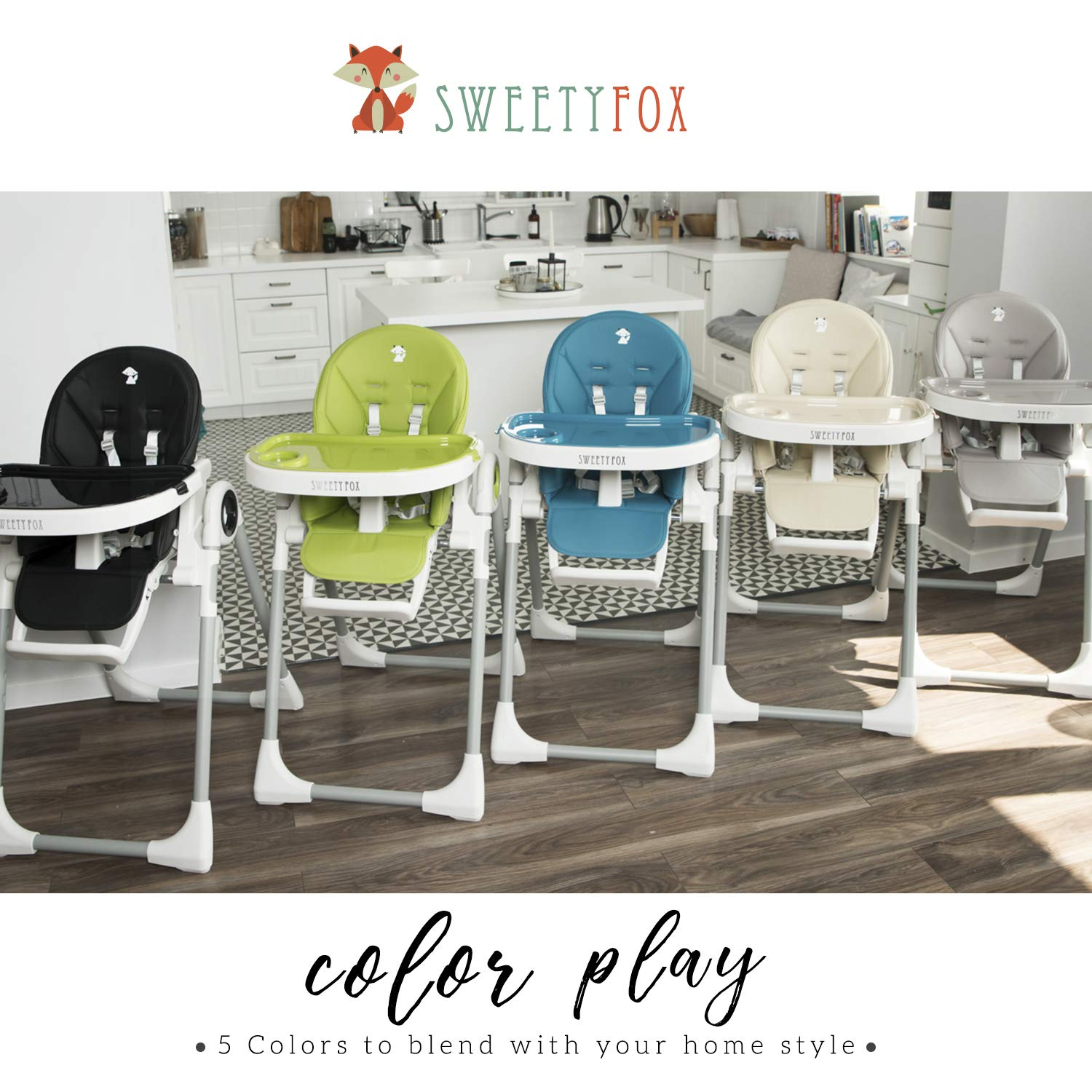 Wipe Clean ⭐Adjustable Baby High Chair High Chairs with Removable Tray Baby Highchairs with 7 Different Heights and Adjustable Seat with 5 Different Positions Comfortable Baby Cushion Folding