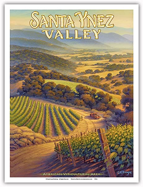 Pacifica Island Art Santa Ynez Valley Bodegas-Central Coast AVA viñedos-California Wine Country Art Kerne Erickson-Arte Master Print-9