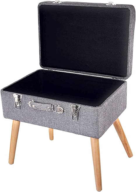 colore: Marrone 40 x 32 x 39 cm Sgabello vintage con vano portaoggetti in legno HMF