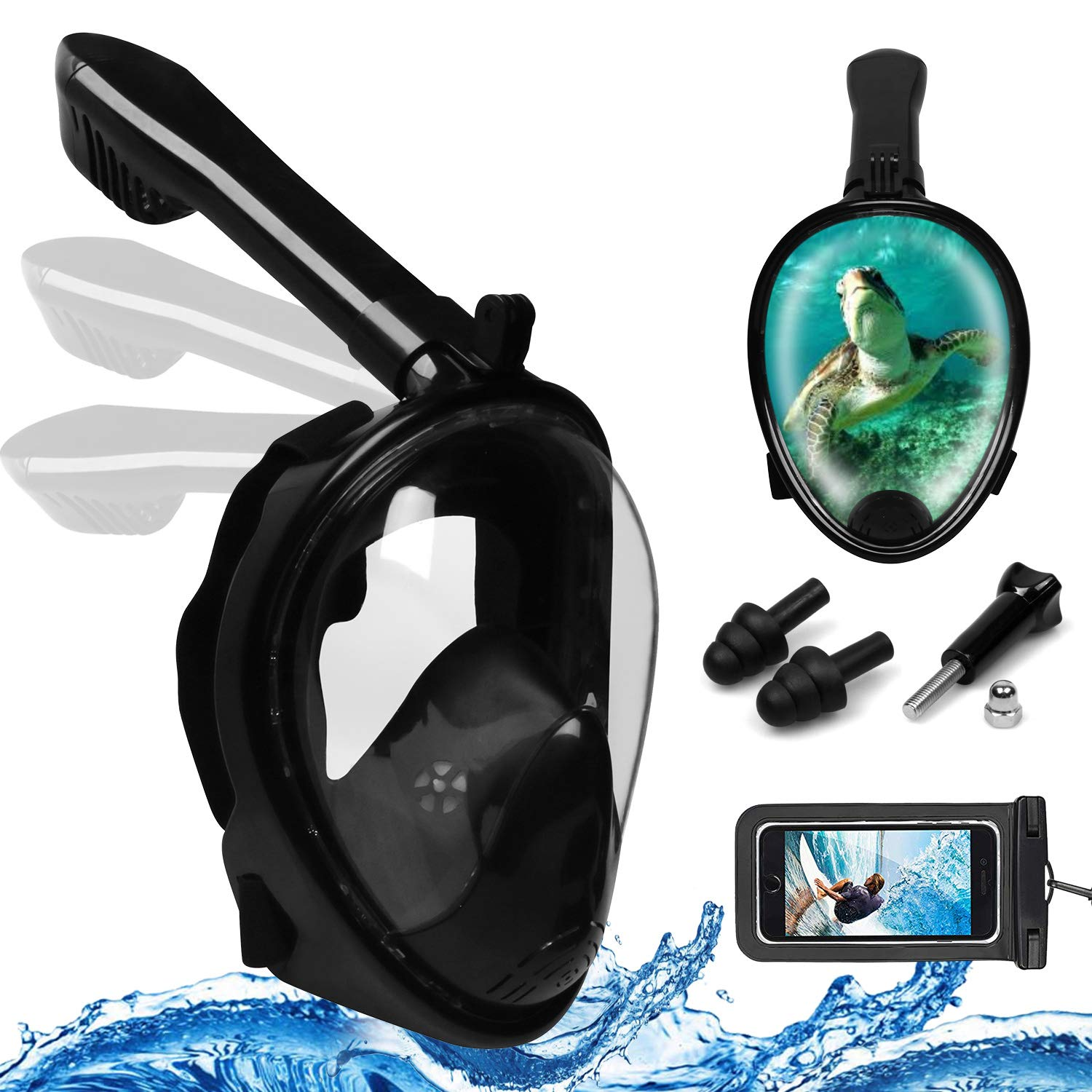 Foldable Full Face Snorkel Mask, 180° Panoramic View Scuba Diving Mask Perfect for Kids Swimming & Adult Diving (S/M, Black)