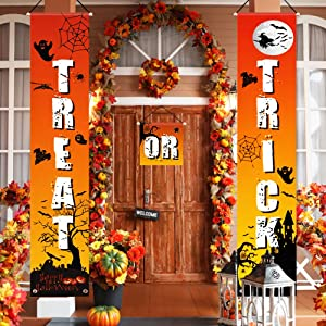QSUM Halloween Decorations Outdoor | Trick or Treat Banner Kit Halloween Porch Signs for Front Door or Indoor Home Decor | Halloween Party Welcome Signs Decorations