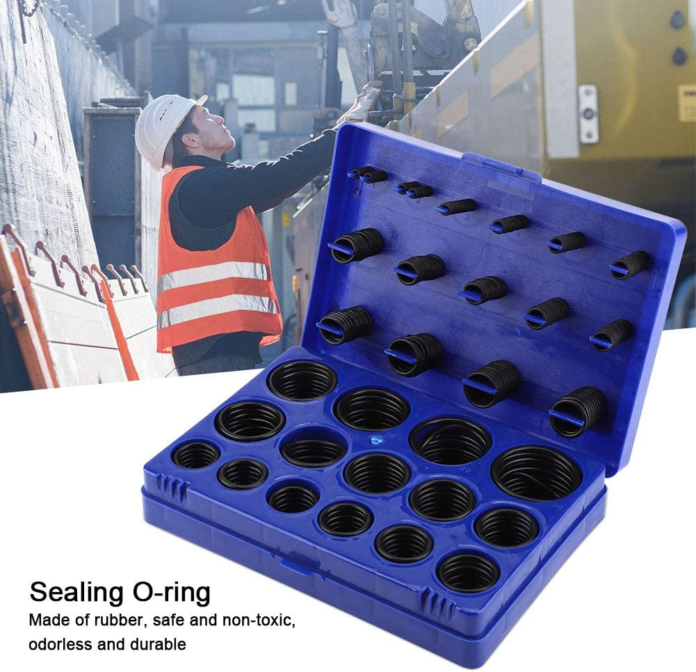 Blue TOPINCN Sealing O-ring Kit Abrasion-resistant Rubber Rings for Boat Car Auto Vehicle Repair Machine Tool Pipeline Seal Assortment Set with Storage Case