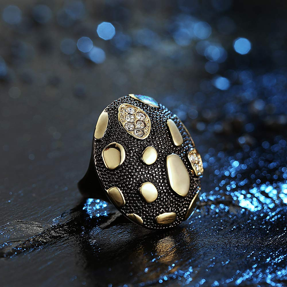 dnswez Big White Gold Tone Fashion Mushroom Cocktail Engagement Statement Rings for Women Size : 9